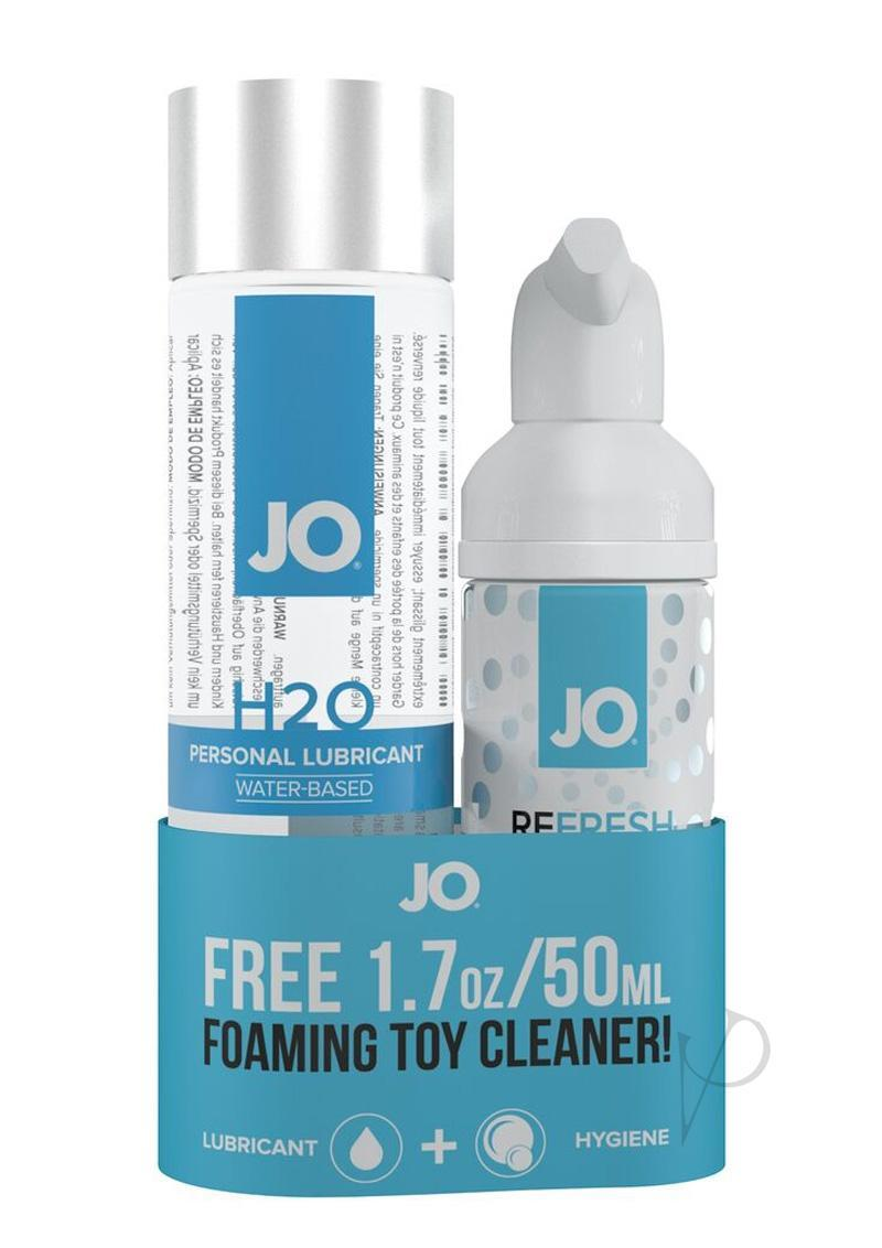 Jo H2o Classic Water Based Personal Lubricant 4 Ounce With Free Foaming Toy Cleaner 1.7 Ounce Set